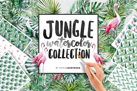 Jungle Watercolor Collection by Katsia Jazwinska on @creativemarket