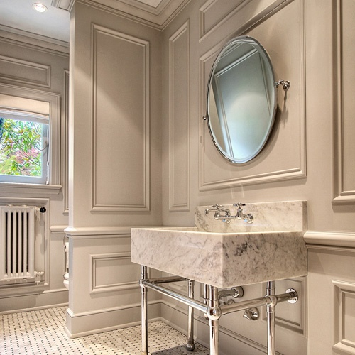 Tile, trim, marble: Wall Colors, Bathroom Design, Powder Room, Wall Trim, Bathroom Vanities, Jas Design, Beautiful Bathroom, Wall Molding, Design Buildings