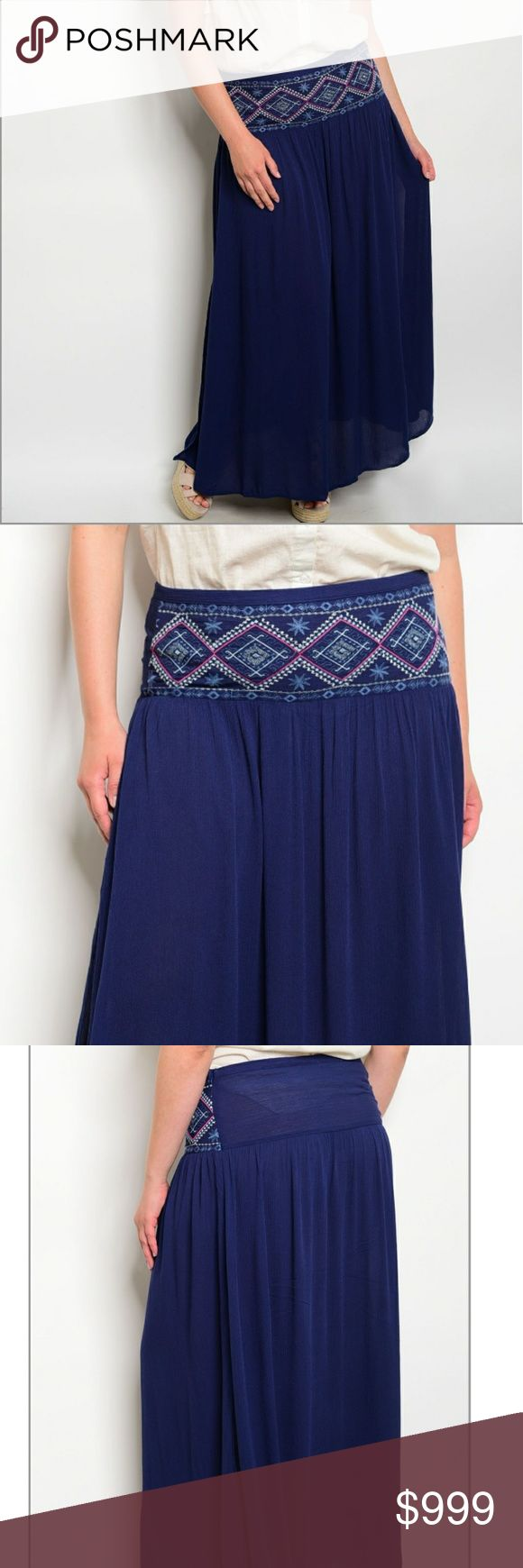 """PLUS peasant maxi beautiful navy maxi skirt with embroidered front  waistband. relaxed fit, flowy, peasant style with elastic waist and side slit. Brand new from wholesaler. 100% rayon. about 40"""" long. no trades    measurements coming soon  06750 Skirts Maxi"""
