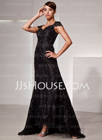 Evening Dresses - $176.99 - Mermaid V-neck Asymmetrical Charmeuse Lace Evening Dress With Beading (017025833) http://jjshouse.com/Mermaid-V-Neck-Asymmetrical-Charmeuse-Lace-Evening-Dress-With-Beading-017025833-g25833
