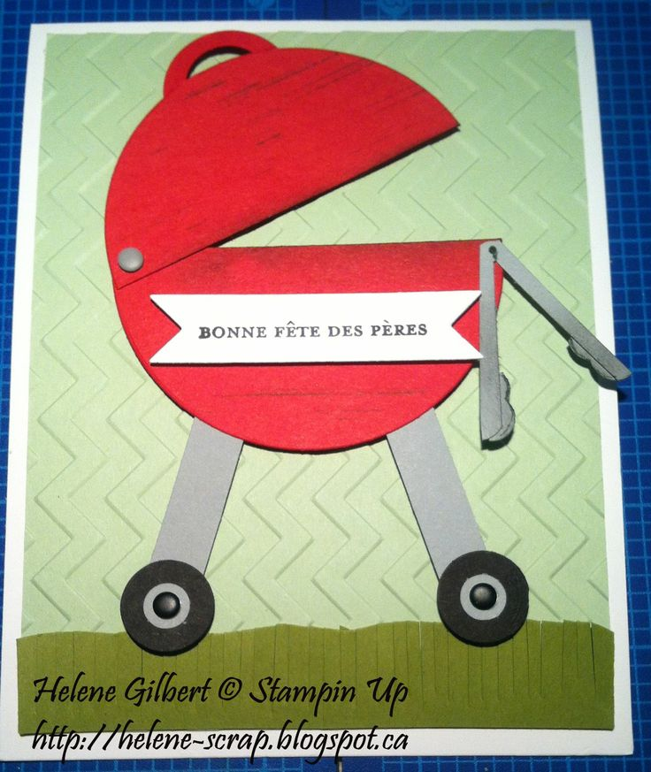Stampin Up Punch art BBQ, father's day card, carte fête des Pères BBQ
