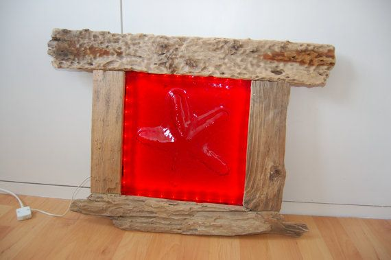 Red glass starfish lamp driftwood framed and by AndyBullGlassArt