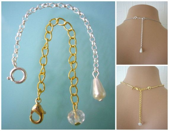 Necklace Extender Backdrop Extender Necklace Extension Chain Lengthener Bracelet Extender Gold Tone Silver Tone Chain Extender by CrystalPearlJewelry