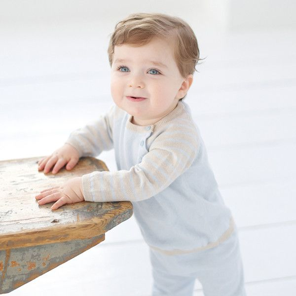 Stylish and gorgeous luxurious cotton and cashmere two piece set for baby boys!