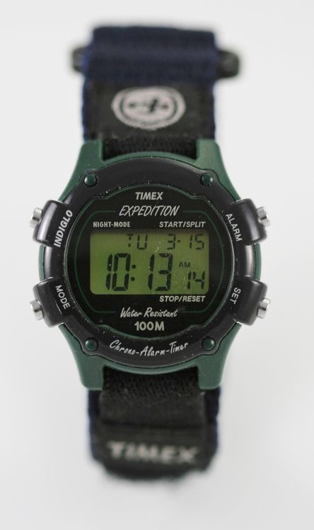 Timex Watch Womens Green Plastic Blue Nylon Alarm Chrono Light Date Quartz