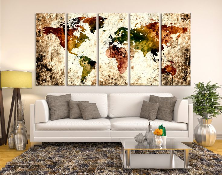 Mejores 26 imgenes de watercolor world map canvas en pinterest abstract watercolor world map canvas wall art print colorful large wall art watercolor world map gumiabroncs Image collections