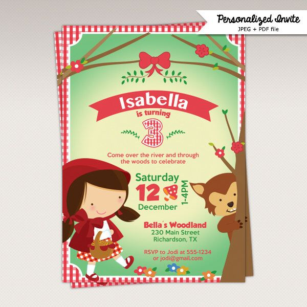 Little Red Riding Hood Birthday Party printable invitation - Little Red Riding Hood Birthday Party Invite #481 by PNArt on Etsy https://www.etsy.com/listing/234252159/little-red-riding-hood-birthday-party