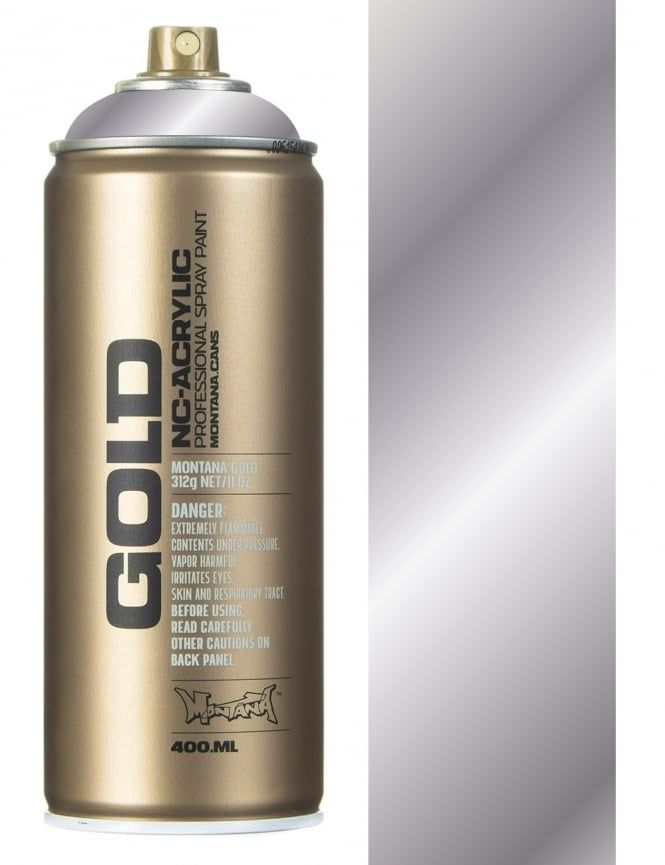 Montana Gold Silver Chrome Spray Paint - 400ml - Spray Paint Supplies from Fat Buddha Store UK
