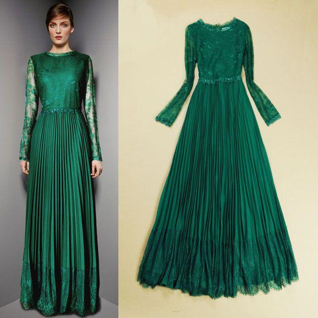 Long sleeved emerald green maxi dress