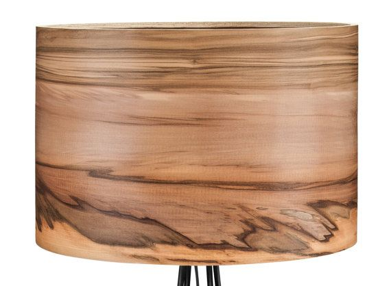 Wooden Floor Lamp Natural wood lampsveneer by Sponndesign on Etsy