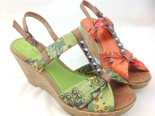 Green Or Orange Marco Tozzi Tbar Wedge Sandal- £27.99