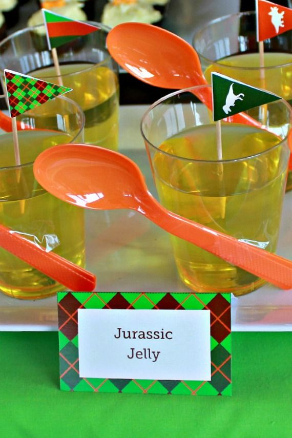 Dinosaur Party Food- Jelly Cups and Dinosaur Party Printables @ www.lovethatparty.com.au
