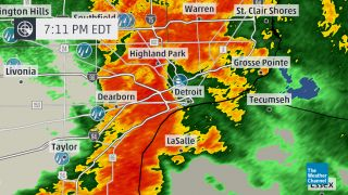NEXRAD Doppler radar indicated extremely heavy rain in Detroit and Dearborn, Michigan at 7:11 p.m. on August 11, 2014.