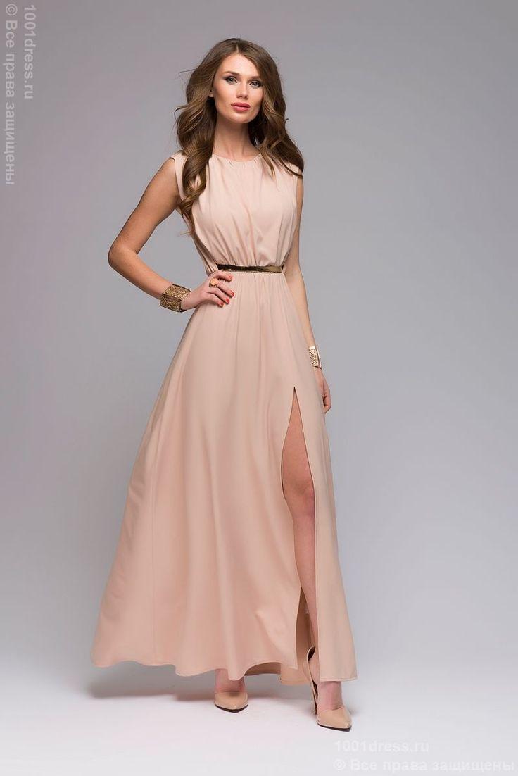 Купить бежевое вечернее платье длины макси в греческом стиле в интернет-магазине 1001DRESS