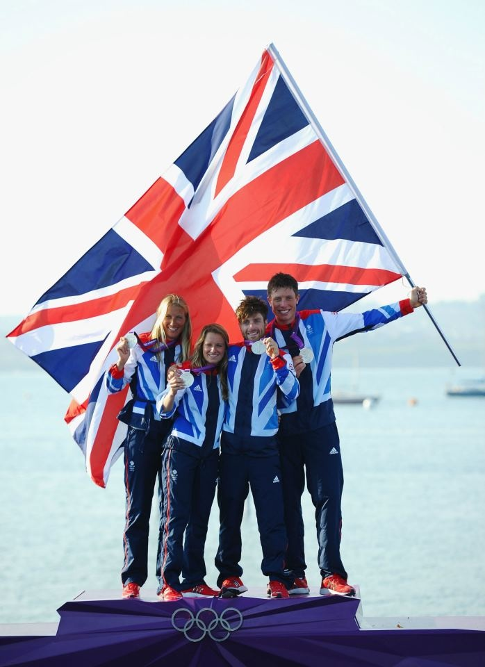 (L-R) 470 Women's sailors Saskia Clark and Hannah Mills of Great Britain and 470 Men's sailors Luke Patience and Stuart Bithell of GB celebrate with tier silver medals.    (Photo by Laurence Griffiths/Getty Images) 2012 Getty Images   https://www.facebook.com/TeamGB