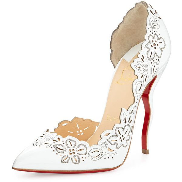 Christian Louboutin Beloved Laser-Cut Patent Red Sole Pump (6.930 VEF) ❤ liked on Polyvore featuring shoes, pumps, heels, white, white shoes, pointed toe high heel pumps, white patent pumps, high heel pumps and white pointed-toe pumps