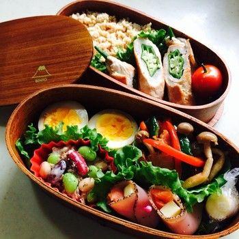 とっても身体によさそうなお弁当です!富士山のマークもかわいいお弁当箱ですね。