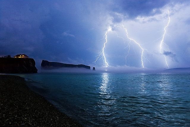 "lightning in Gaspésie QC, Canada, at the ""Rocher Percé"" By Dan. D. 