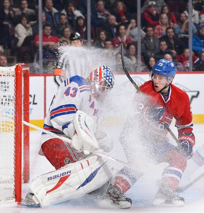 MONTREAL, CANADA - FEBRUARY 23: Brendan Gallagher #73 of the Montreal Canadiens collides with goaltender Martin Biron #43 of the New York Rangers during the NHL game on February 23, 2013 at the Bell Centre in Montreal, Quebec, Canada. (Photo by Francois Lacasse/NHLI via Getty Images)