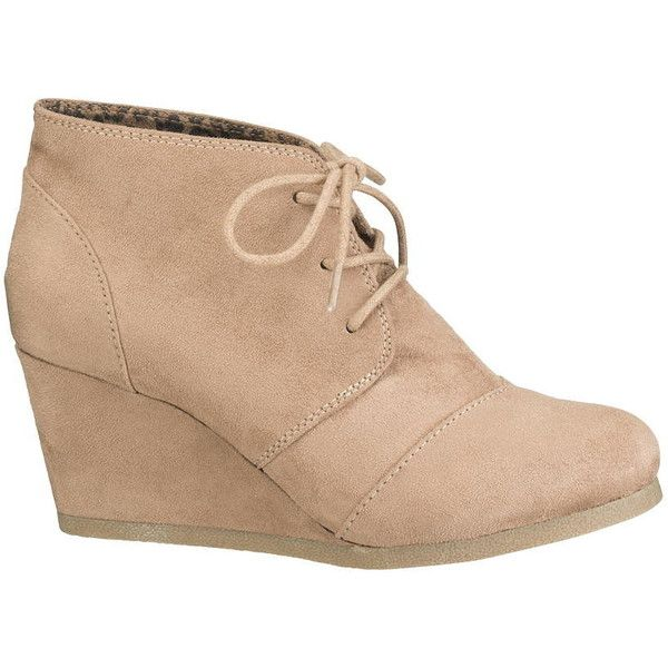 maurices Penny Lace-Up Wedge In Taupe ($34) ❤ liked on Polyvore featuring shoes, beige, beige wedge shoes, beige shoes, laced up shoes, maurices and wedges shoes