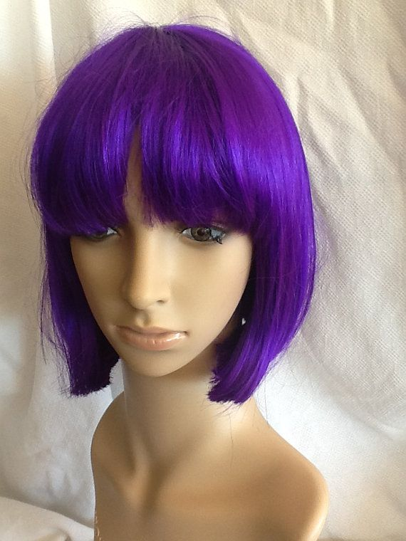 Purple Bob Wig Purple Costume Wig Halloween Wig Short by jujiwigs