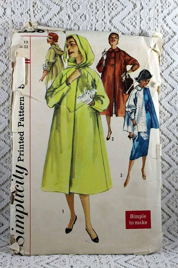 Simplicity 1928 Misses' Coat Sewing Pattern Vintage Coat