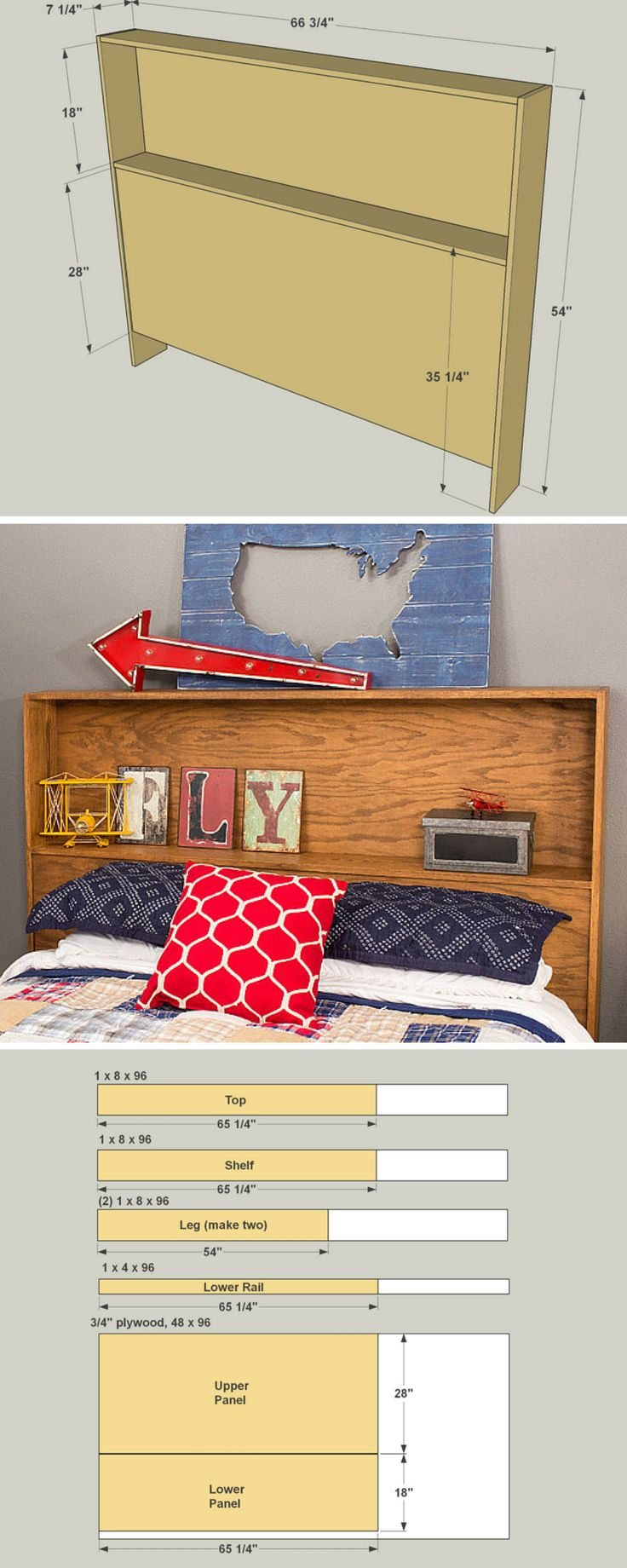 How to Build a DIY Storage Headboard | Free Printable Project Plans on buildsomething.com | This headboard offers a storage shelf behind your head, plus another up above. It's made from just 7 parts, which means you can build one easily with a few basic tools. Depending on the type of wood you choose and the finish you apply, you can make it look traditional or contemporary.
