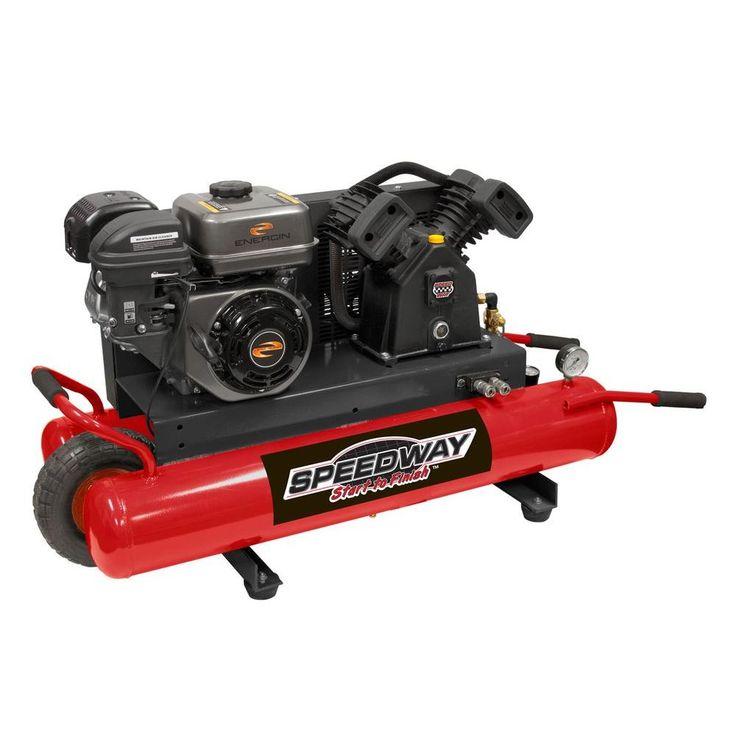 9 Gal. 6.5 HP OHV Wheelbarrow Design Gas Air Compressor with Run-Flat Tire