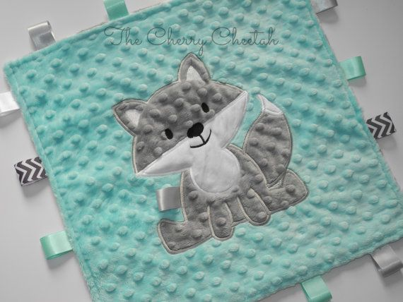 Personalized Baby Blanket, Woodland Fox, Lovey Size, Minky Baby Blanket, Sensory Ribbons, Baby Lovey, Custom Blanket, Made to Order