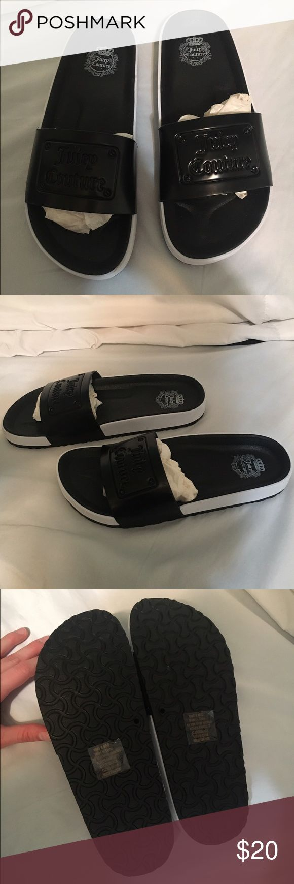 JUICY COUTURE SPA N SPORT SANDALS SIZE 6 WOMEN! JUICY COUTURE SPA N SPORT SANDALS SIZE 6 WOMEN!  Slip on black and white.... new.... never worn! Juicy Couture Shoes Sandals