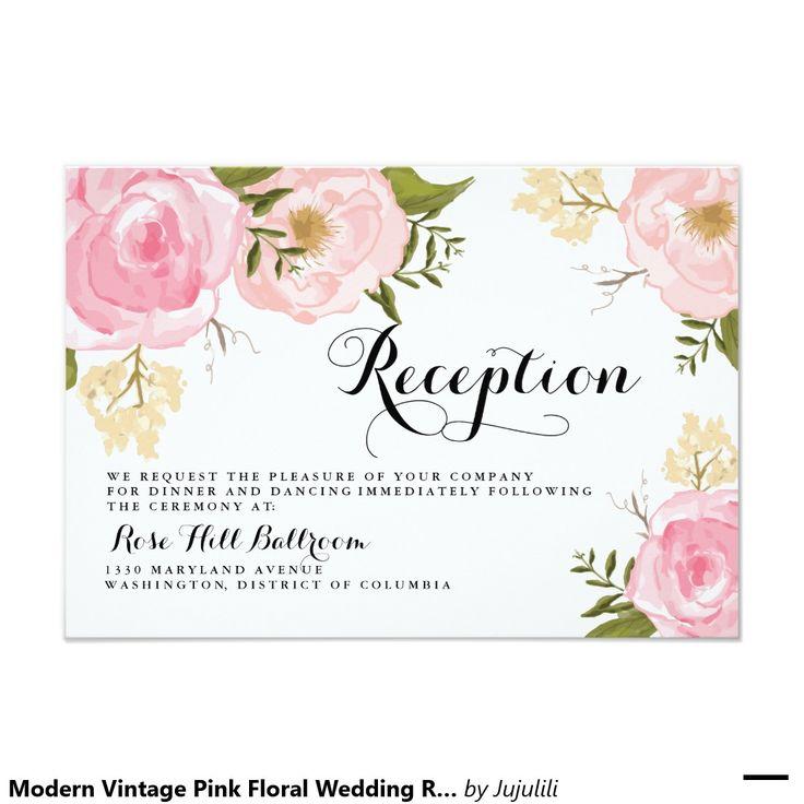 モダンなヴィンテージのピンクの花の結婚披露宴カード 8.9 X 12.7 インビテーションカード