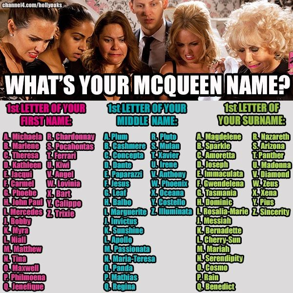 ❤ What's Your McQueen Name #Hollyoaks #McQueen's (My actual name in whole is: Julie Elizabeth Naomi Allen) so I started with this but it came out as Bobby for the first so I was like nooo as it is a boy's name so I used both my middle names instead you will see how I changed it if u look properly lol :) SO NOW I'm [JULIE MARIA-TERESA MAGDELENE MCQUEEN]- and I like it that way! So be it! @RachSJamieLFanx WHAT's YOURS?!?!?!?!!!?? ❤