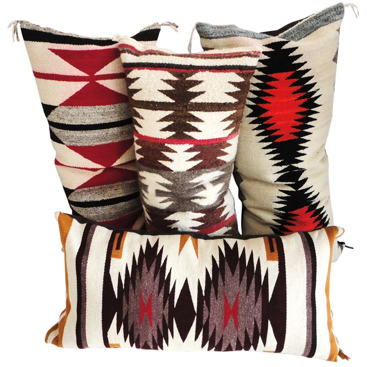Navajo Indian Weaving Bolster Pillows /Collection of 4 | From a unique collection of antique and modern native american objects at https://www.1stdibs.com/furniture/folk-art/native-american-objects/