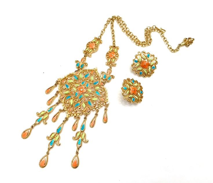 Excited to share the latest addition to my #etsy shop: Vendome Enamel Necklace & Earring Demi, Intricate Design, Coral Turquoise Lime Enamel, Dangle Pendant, HTF Signed, Vintage Gift for Her
