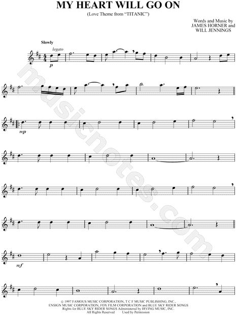 Print and download My Heart Will Go on sheet music from Titanic arranged for Alto Saxophone. Instrumental Solo in D Major.
