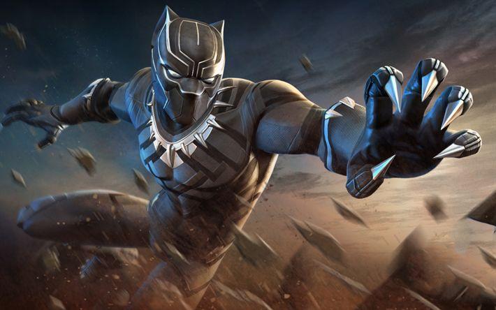 Herunterladen hintergrundbild black panther, superhelden, kämpfen, marvel contest of champions