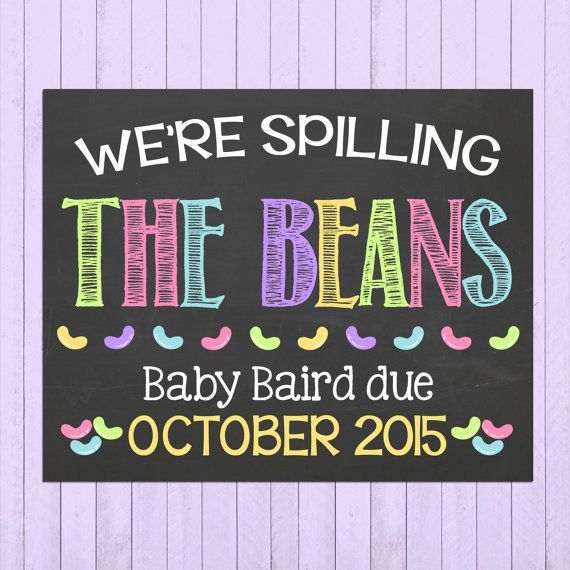 Easter Pregnancy Announcement Chalkboard Poster Printable // Jelly Bean // Pregnancy Reveal Photo Prop // Easter // Expecting // Unique by PersonalizedChalk