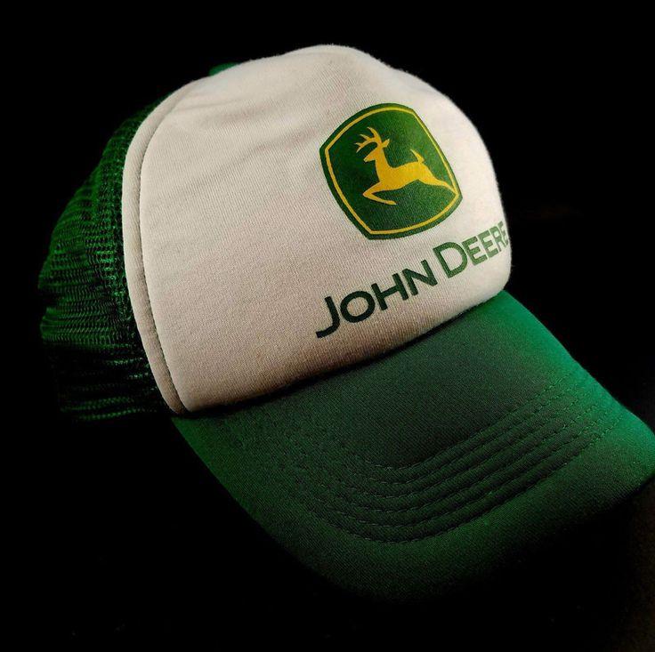 #JOHNDEERE #Logo Double Row #Snapback #Mesh #Trucker #HAT Green + #White #Tractor #CAP #TruckerHat #eBay