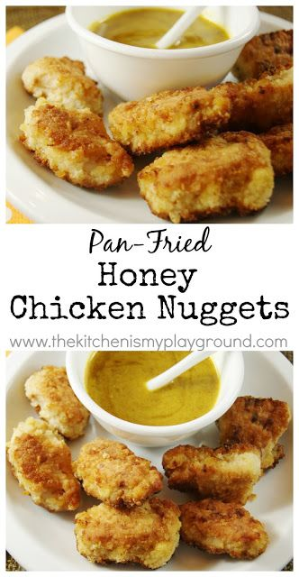 Pan-Fried Honey Chicken Nuggets ~ so tender & tasty!   www.thekitchenismyplayground.com