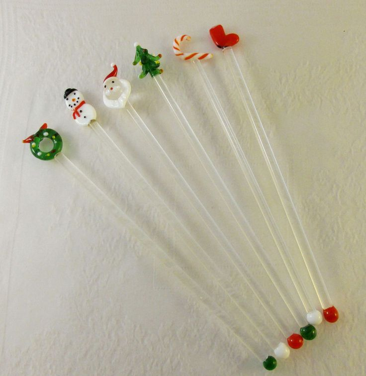 Blown glass holiday cocktail swizzle sticks drink stirrers for Christmas in a glass cocktail