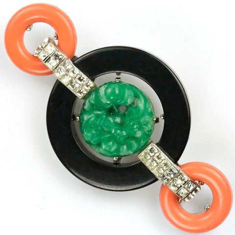 Kenneth Jay Lane Button Deco Necklace Jade/coral LdxIE