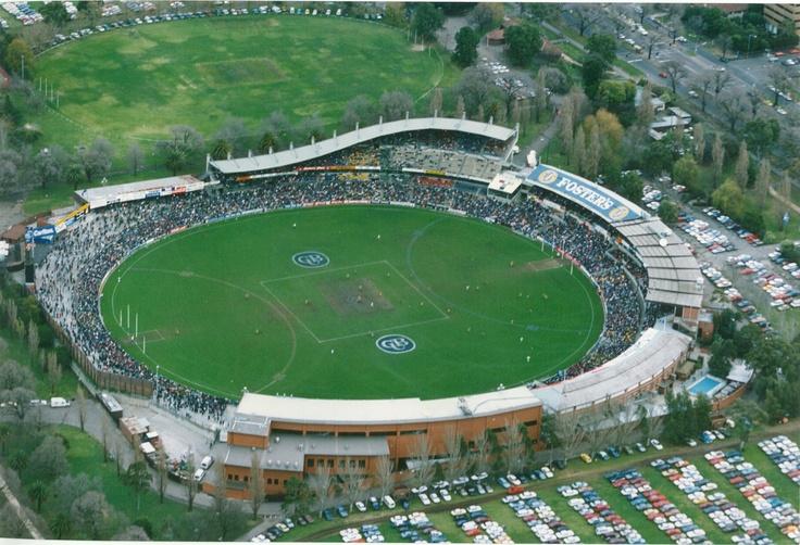 An aerial view of Visy Park, circa 1994.