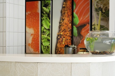 Salmon Bar Franschhoek : canvas prints and metro wall tiles.