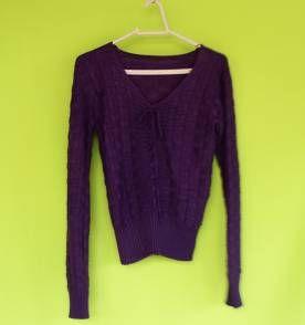 Blusa de tricô roxa
