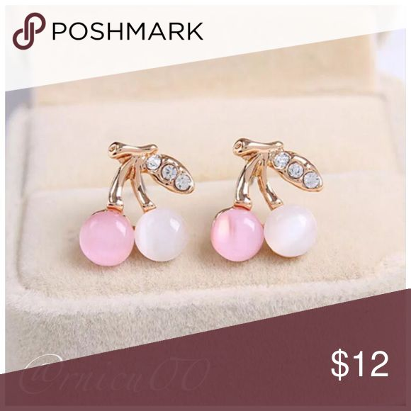 """Pink & White Opal Cherry CZ Stud Earrings! Adorable Pink & White Opal Cherry Stud Earrings, with Clear CZ's!  • Pink & White Opal Stones, Gold Plating, Clear CZ's • Nickel & Lead Free • Post Back- for pierced ears  ➖Prices Firm, Bundle for 20% Discount ➖""""Trade"""" & Lowball Offers will be ignored ➖Sales are Final, Please read Description & Ask Any Questions! Boutique Jewelry Earrings"""