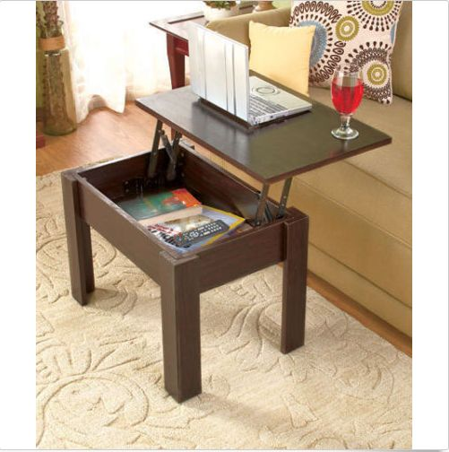 Small Coffee Table With Storage Product Description: The hidden storage of this small coffee table helps keep clutter out of sight. The wooden tabletop lifts to the side to access the storage compartm
