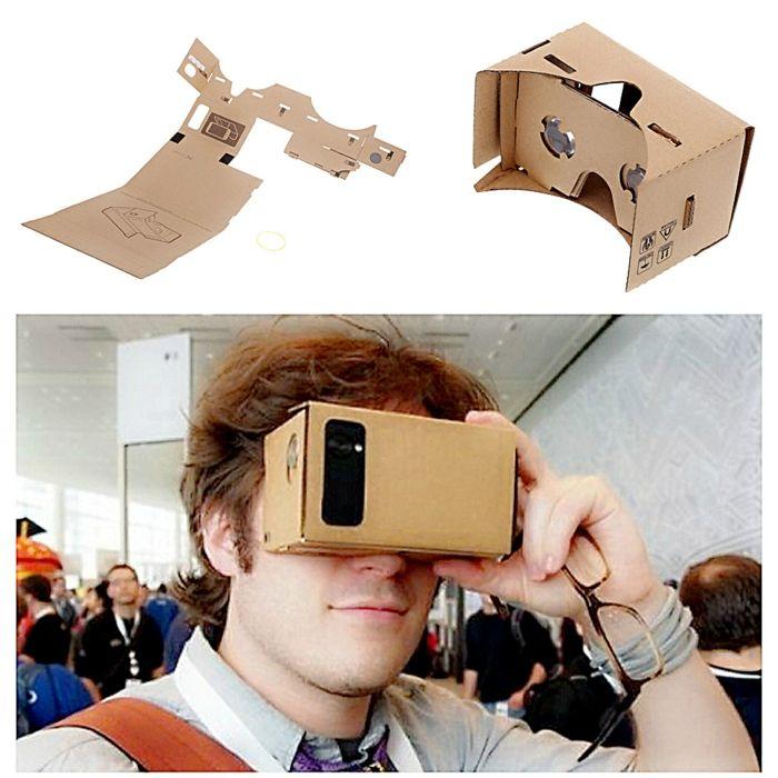 auf diese weise kann jeder von uns vr brille selber bauen   hier ist ein mann mit vr brille und einem kleinen schwarzen smartphone