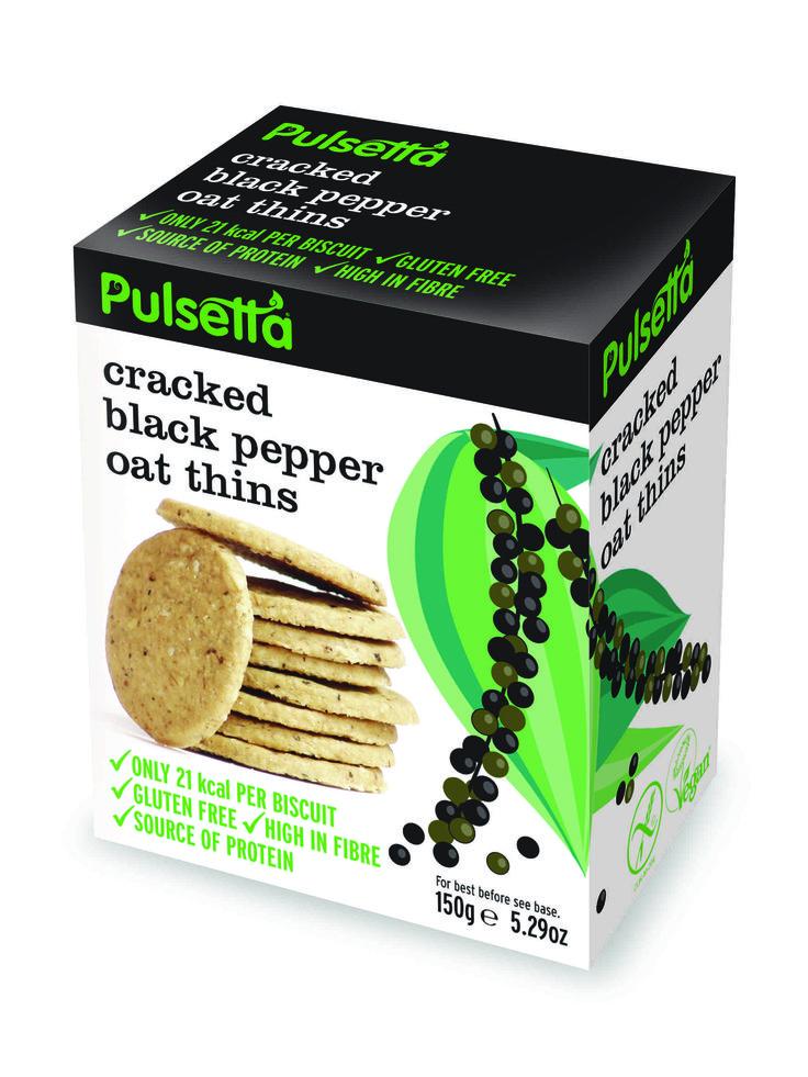 Pulsetta Cracked Black Pepper Oat Thins