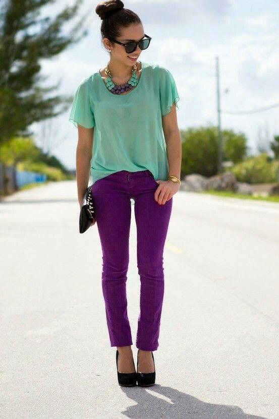 purple pants flowy mint top cute cute color style combination outfits pinterest. Black Bedroom Furniture Sets. Home Design Ideas
