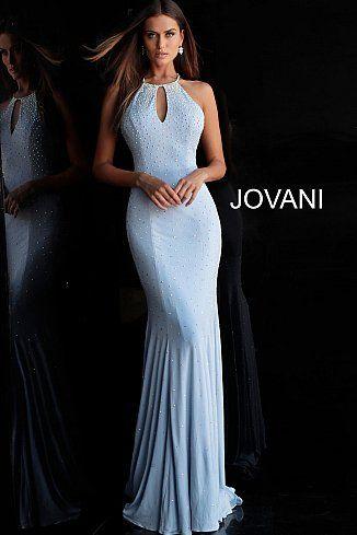 0915fb6fa96dd3 Light Blue Beaded Key Hole Neck Jersey Prom Dress 67101 available at Blush  Bridal   Prom-Concord